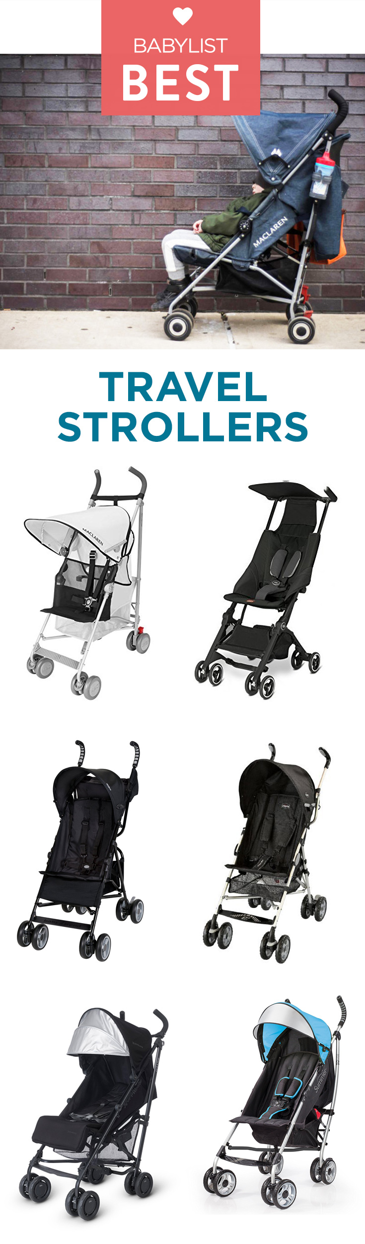 Because of their lighter weight and compact fold, travel strollers are more convenient than others for toting up stairs, riding on public transportation, and stowing out of the way in small hotel rooms and hole-in-the-wall eateries.