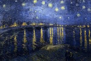Starry Night Over the Rhône sejarah kanvas
