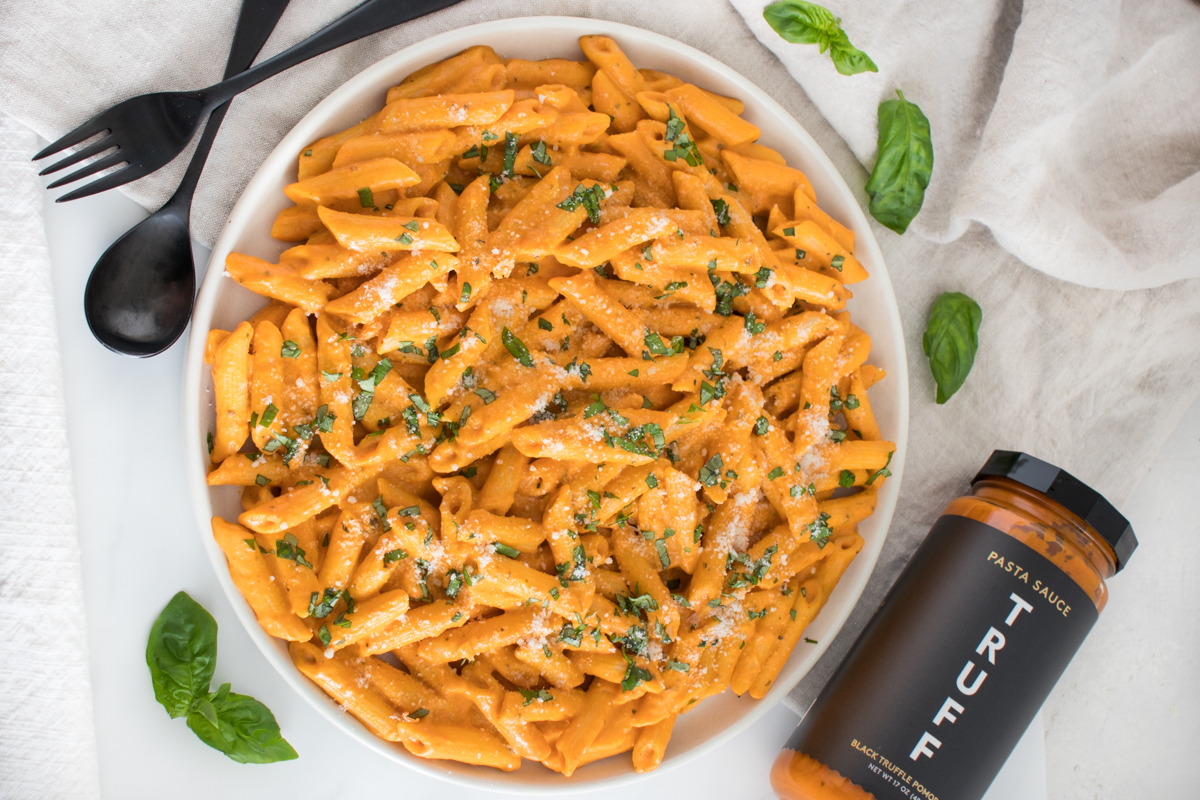PENNE WITH FOUR CHEESE POMODORO