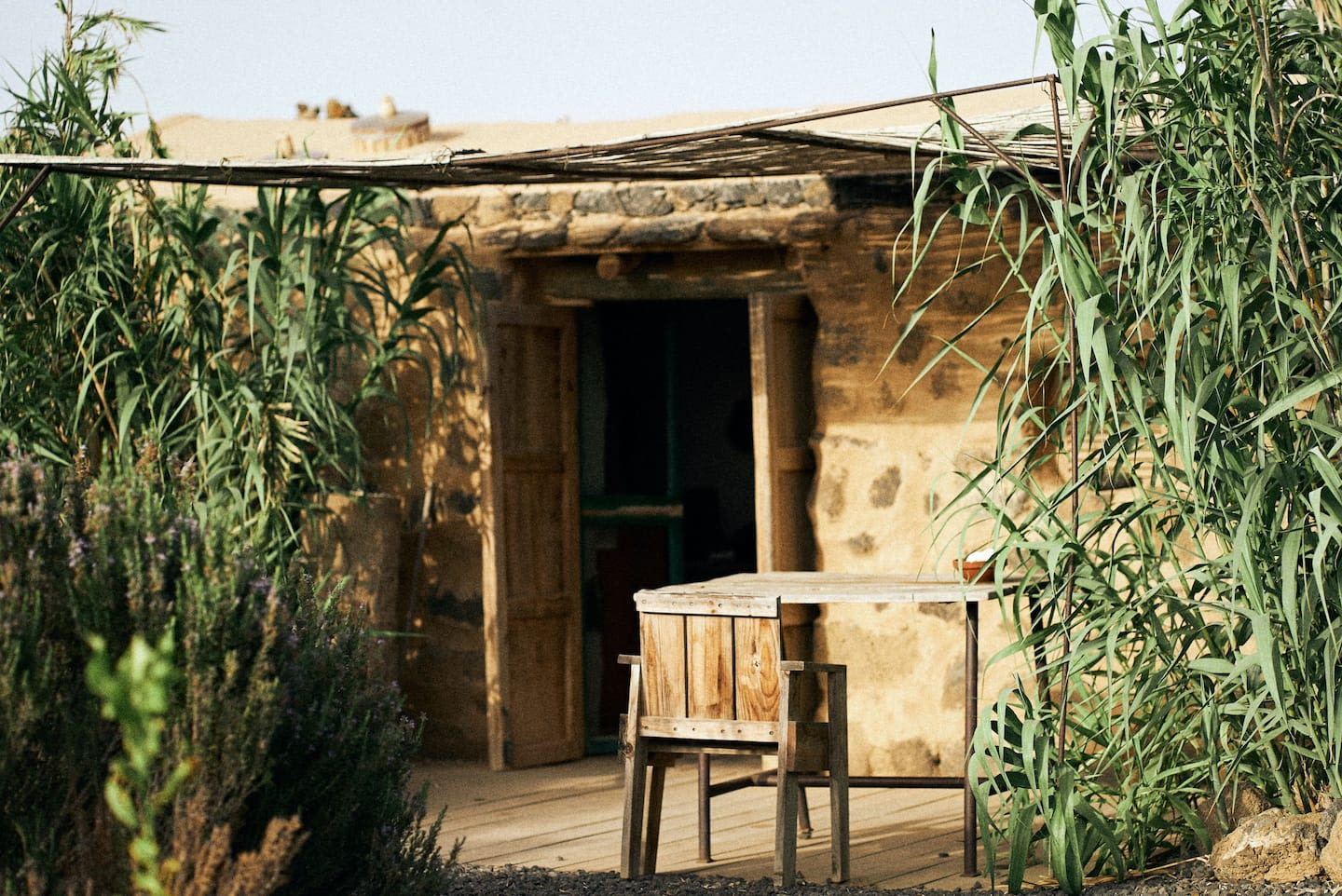 Earthship Lajares with hidden pool