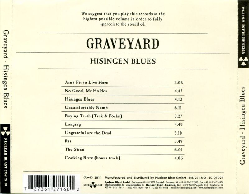 Graveyard - Hisingen Blues (2011) Back