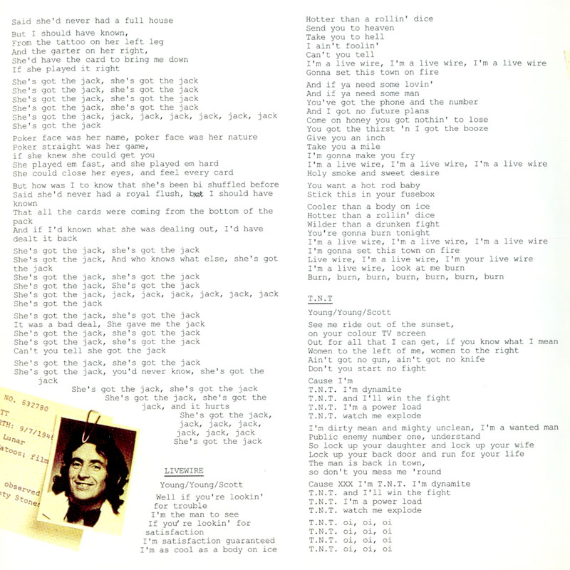 AC/DC - T.N.T. (1975) Booklet
