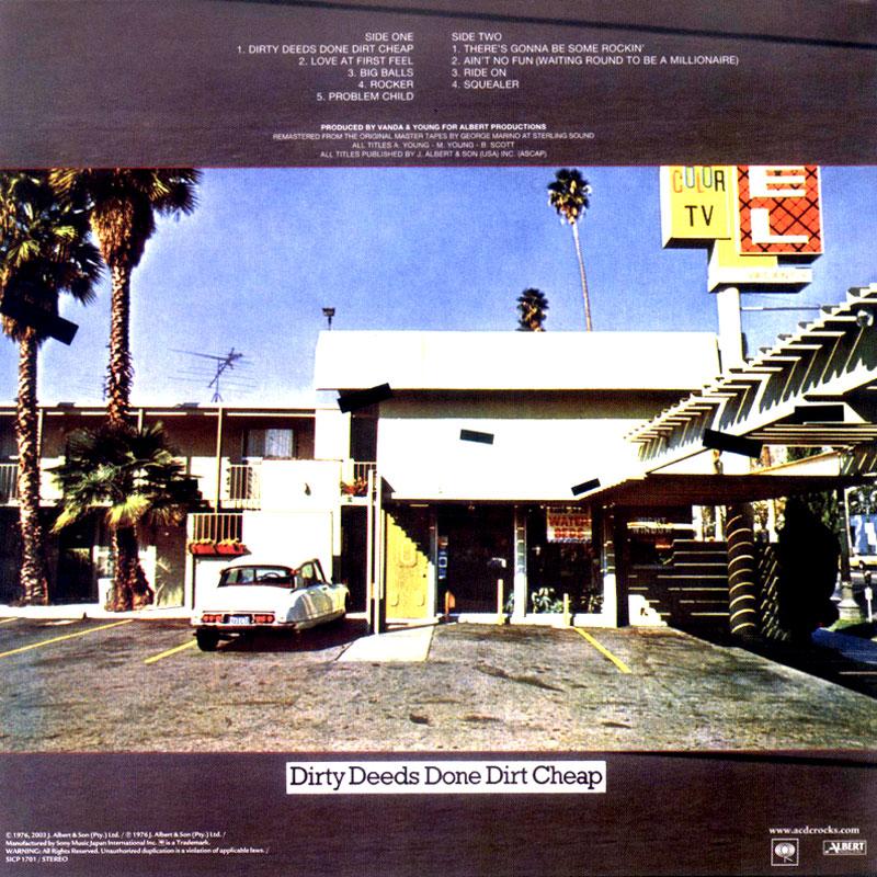 AC/DC – Dirty Deeds Done Dirt Cheap (1976) Back