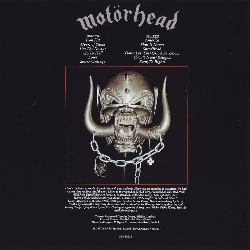 Motorhead – Iron Fist (1982) Back