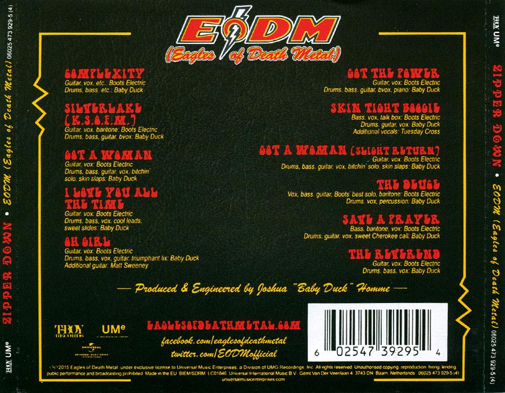 EODM (Eagles Of Death Metal) - Zipper Down (2015) Back