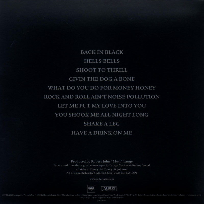 AC/DC - Back In Black (1980) Back