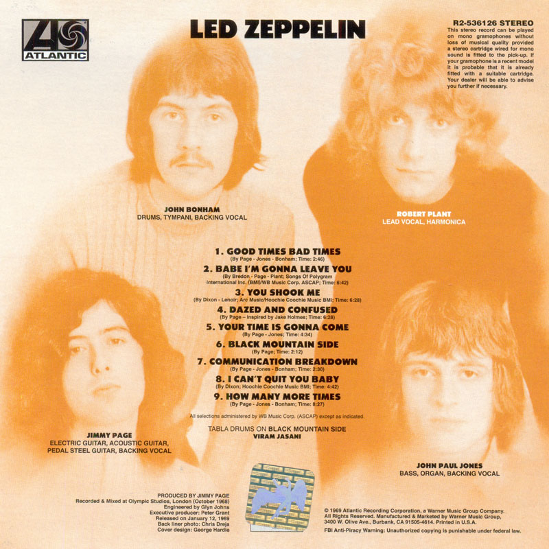 Led Zeppelin - Led Zeppelin (1969) Back
