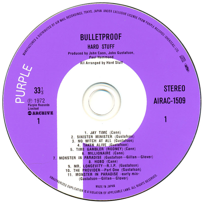 Hard Stuff - Bulletproof (1972) CD