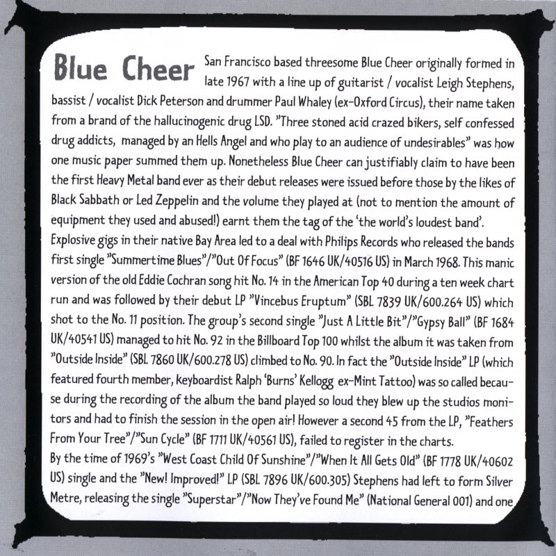 Blue Cheer – New! Improved! (1969) Inlay