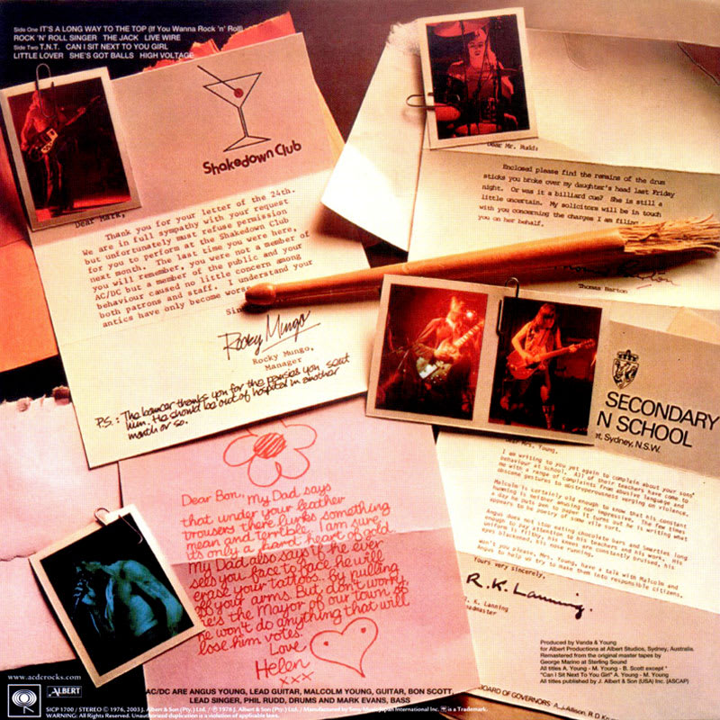 AC/DC - High Voltage (1976) Back