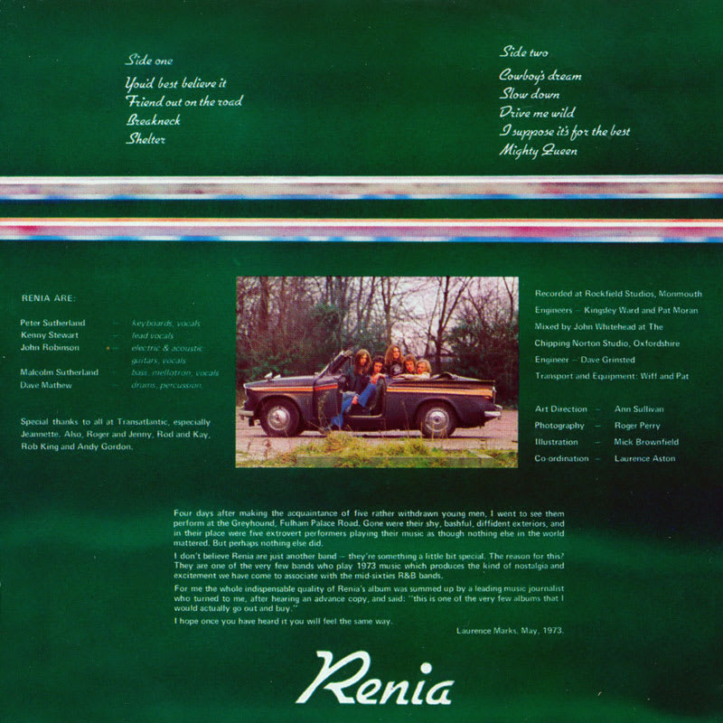 Renia - First Offenders (1973) Booklet