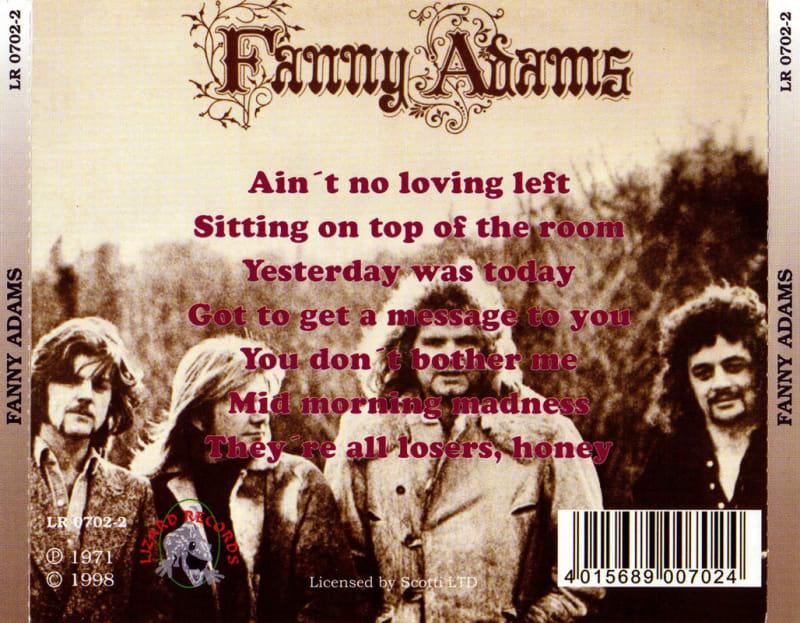 Fanny Adams – Fanny Adams (1971) Back