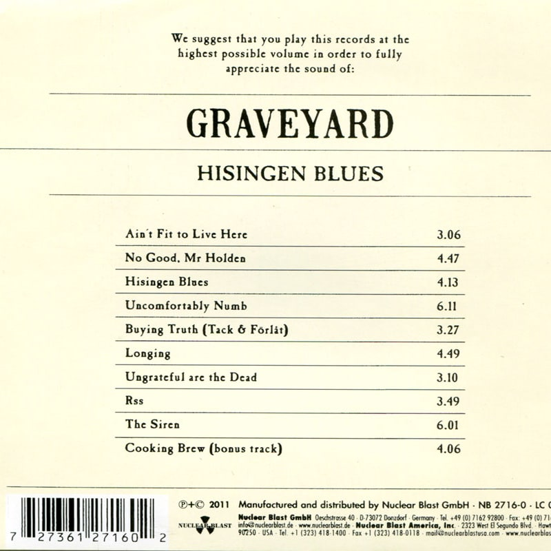 Graveyard - Hisingen Blues (2011) Back