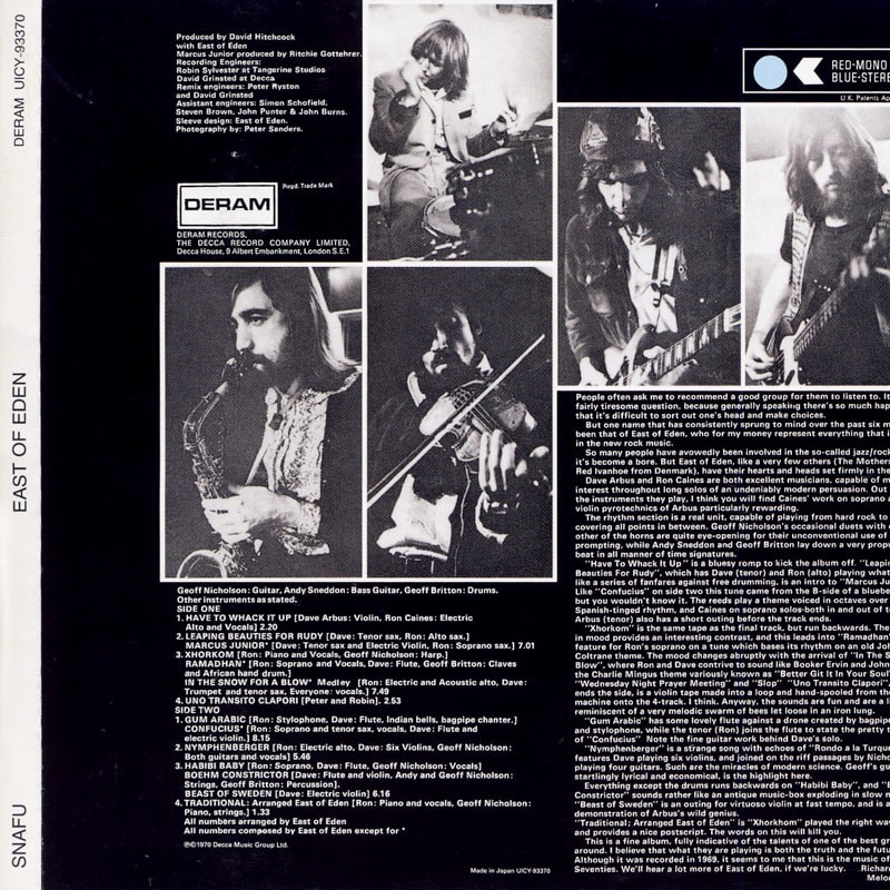 East Of Eden - Snafu (1970) Back