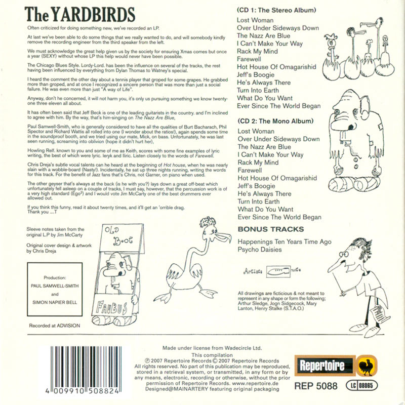 The Yardbirds – Roger The Engineer (1966) Back