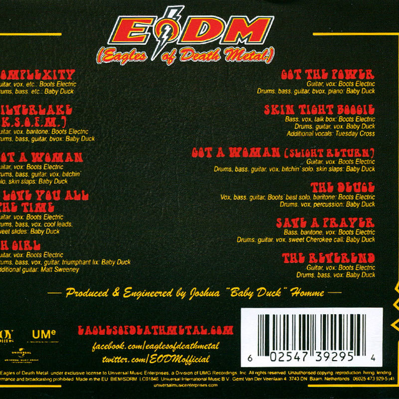 EODM (Eagles Of Death Metal) - Zipper Down (2015) Back