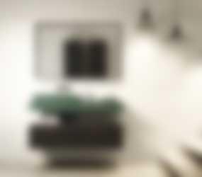 Baderie - badkamermeubel groen met donker hout
