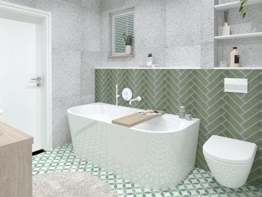 Kleine badkamer, groene tegels - Baderie