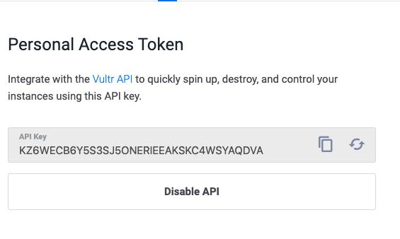 Vultr API Key
