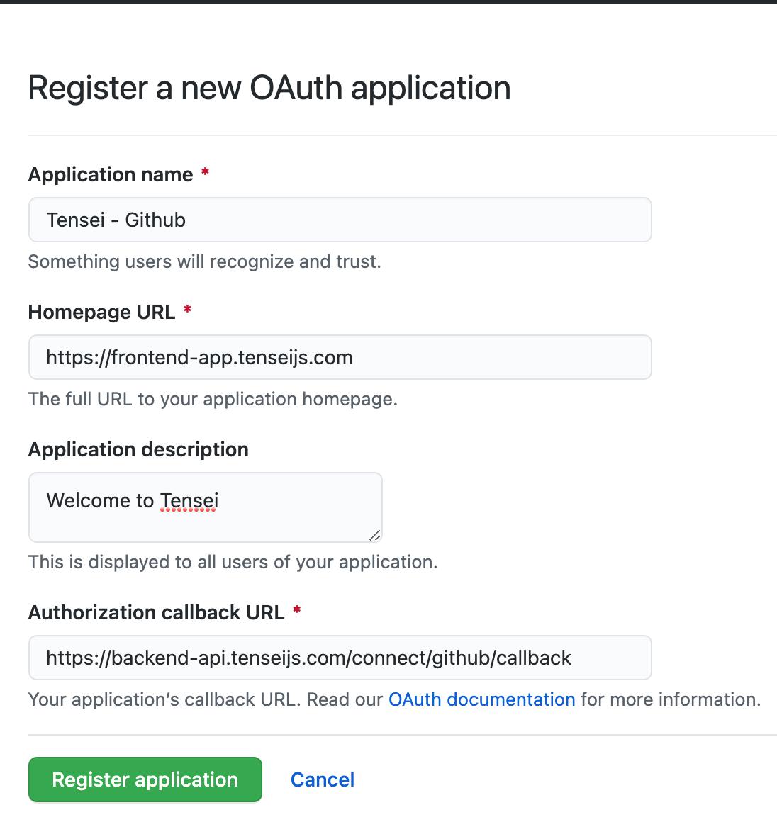 new github oauth application