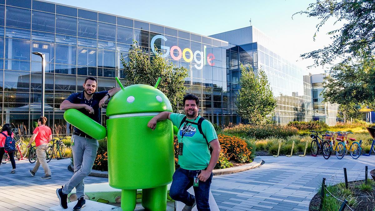 Jahn Heymann und Oliver Walter in der Firmenzentrale von Google in Mountain View. Foto: Universität Paderborn