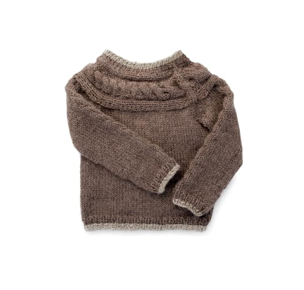 Hand Knitted Alpaca Baby Cable Knit Sweater