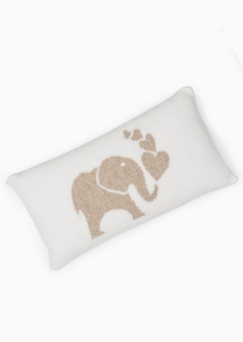 Elephant Intarsia Baby Cushion