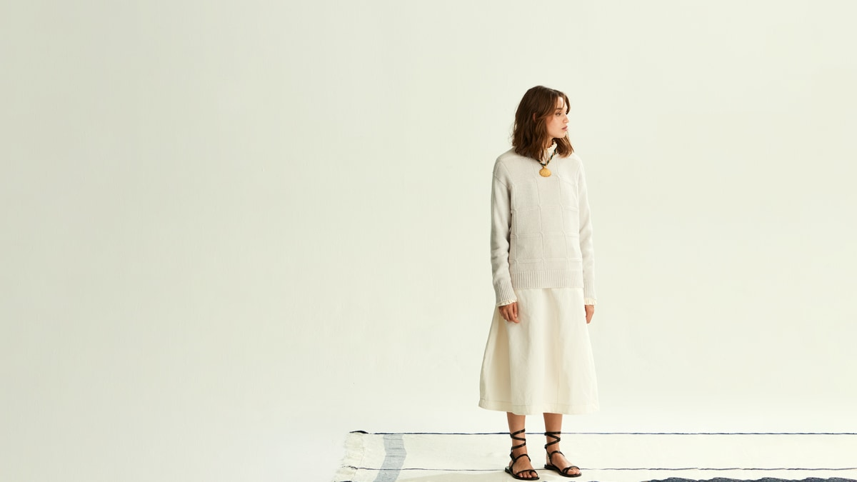 BALANCE SWEATER, KIERA PINAFORE DRESS, SHELL NECKLACE
