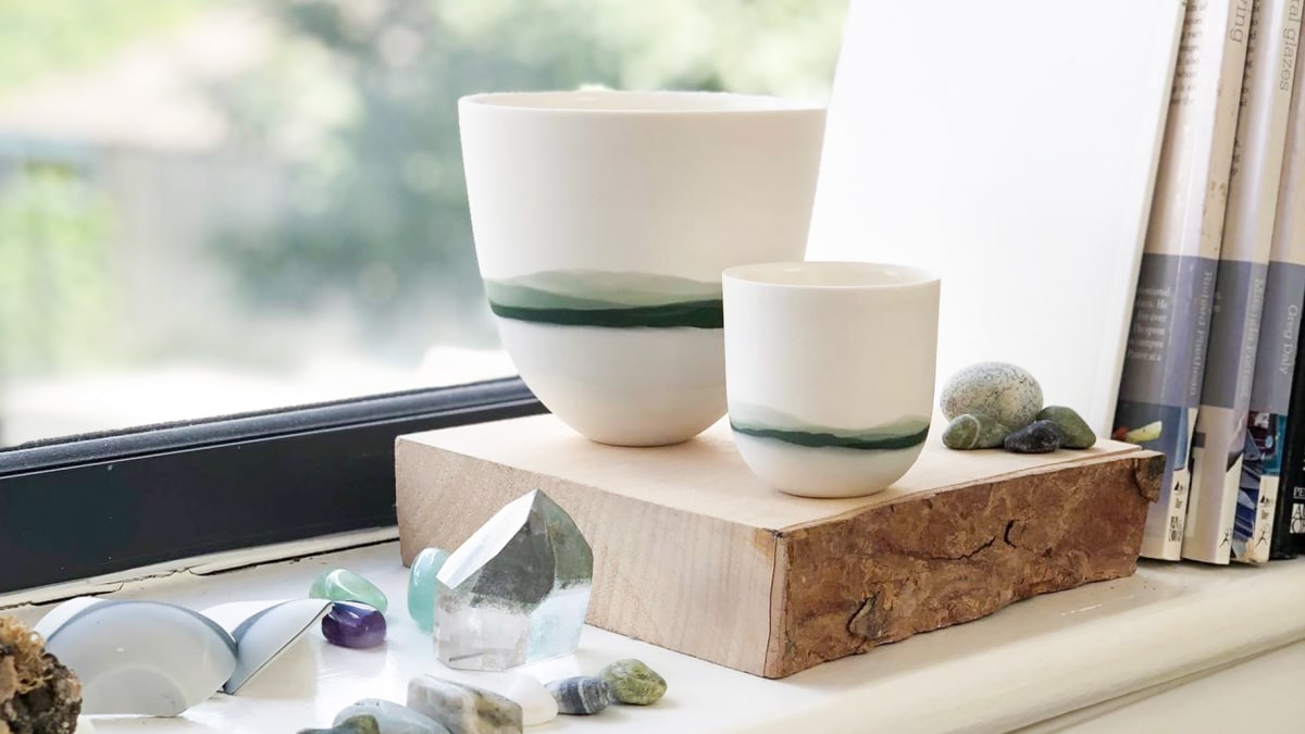 Mountainscape Vessels in Celia Dowson's studio