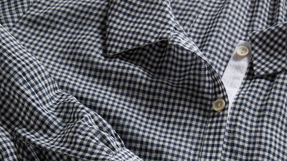 Navy bespoke gingham check in a blend of cotton with linen