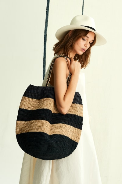 Stripy Basket Bag