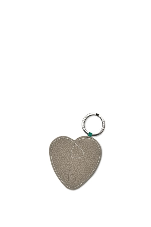Leather Pebble Heart Keyring