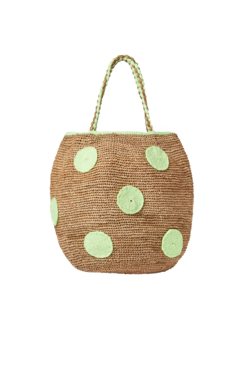 Raffia Polka Dot Basket Bag