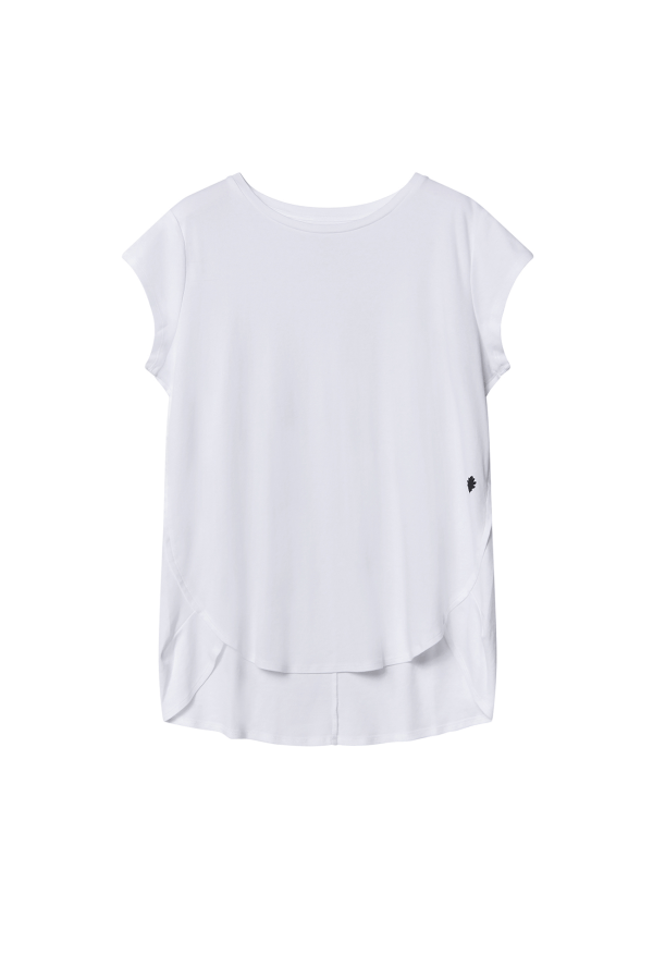 Black Drape Tee Top | White | Bamford