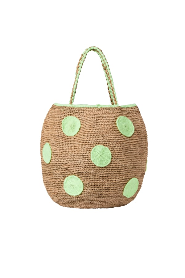 Raffia Polka Dot Basket Bag | Green | Bamford