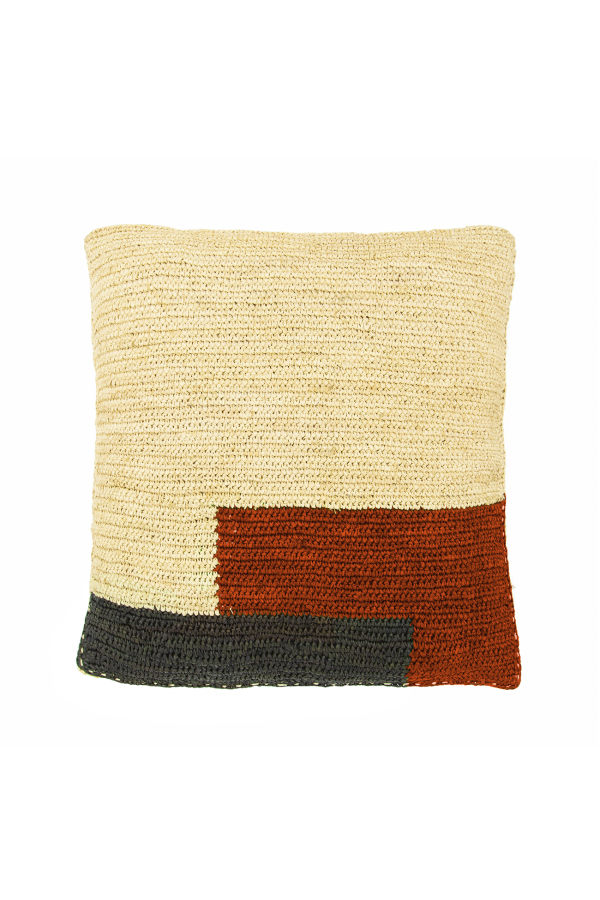 RAFFIA RED BLOCK CUSHION