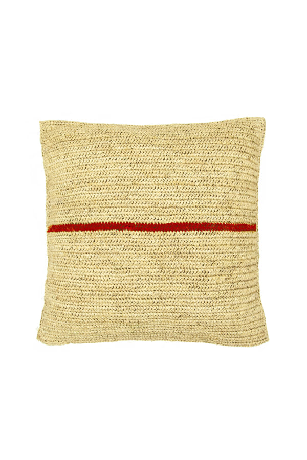 RAFFIA RED STRIPE CUSHION front