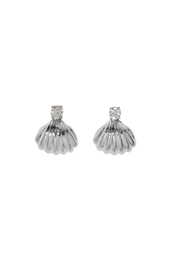 White Gold Shell Earrings