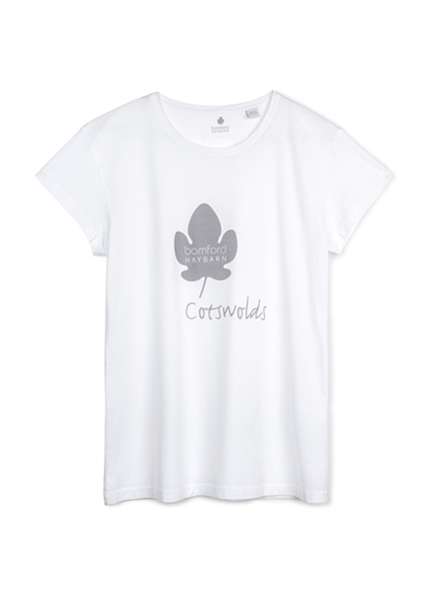Cap Sleeve Tee Shirt with Leaf