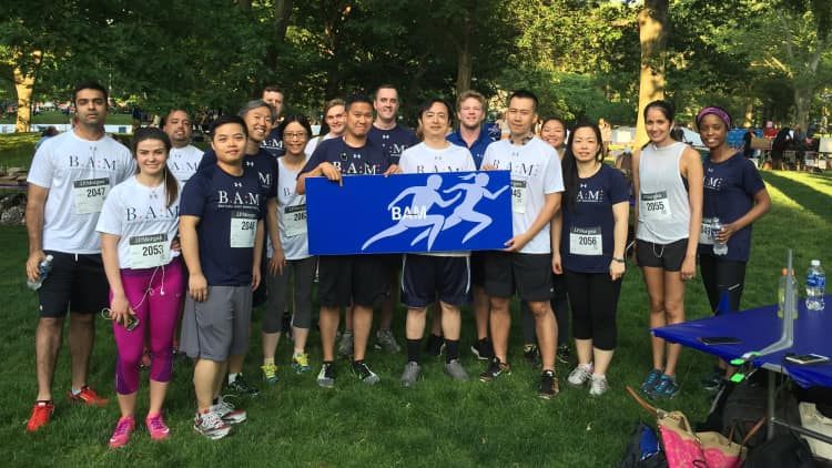Running in the J.P. Morgan Corporate Challenge to support the Central Park Conservancy.