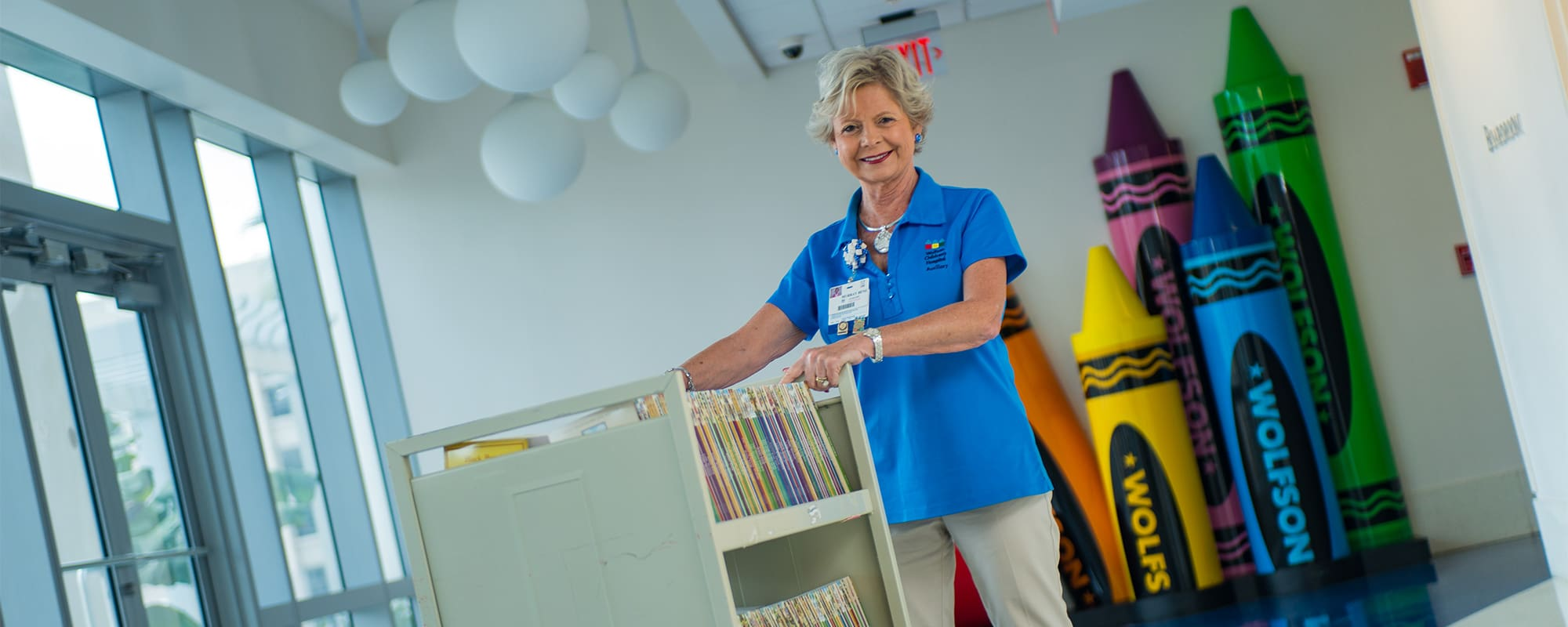 A volunteer at Wolfson Children's Hospital