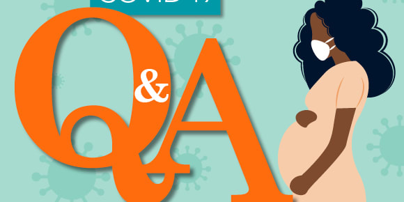"""illustration of the words """"COVID-19 Q&A"""" with pregnant woman"""