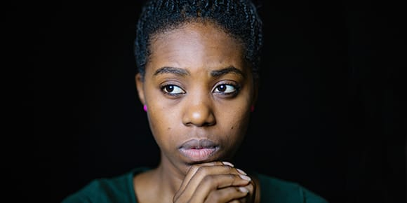 photo of concerned african american woman