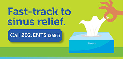 illustration of tissue box with the words fast-track to sinus relief and phone number 9042023687