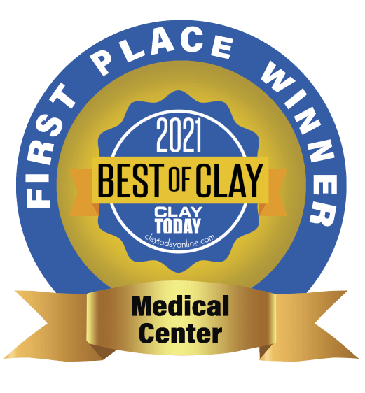 award logo that says First Place Winner for Medical Center, 2021 Best of Clay, from Clay Today newspaper.