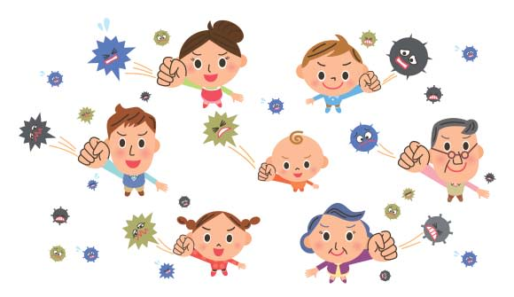 """Cartoon of the """"flu fighters"""" fighting off germs associated with the flu"""