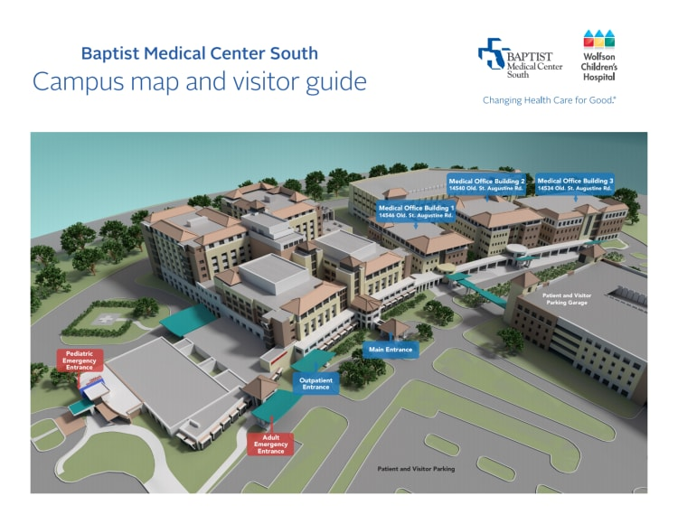 image of baptist south's campus map and visitor guide