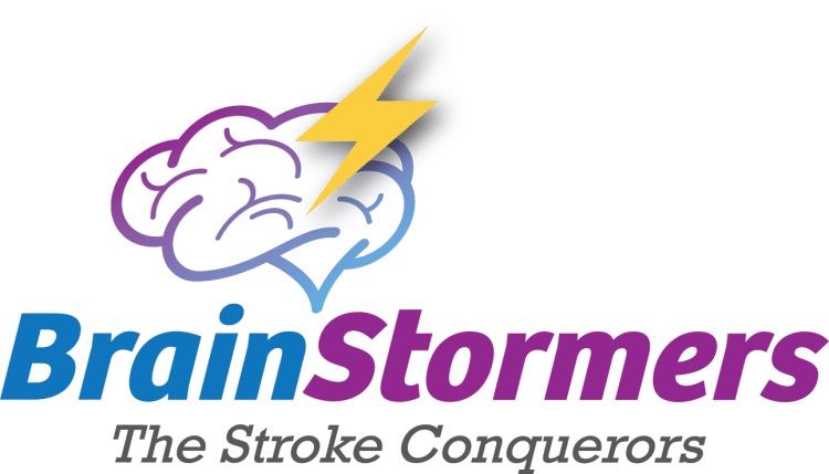 Brain Storms stroke support group logo featuring an graphic illustration of a brain with a lightening bolt on top.