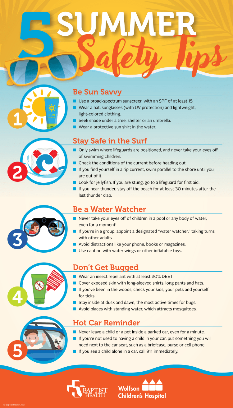 Infographic of 5 summer safety tips