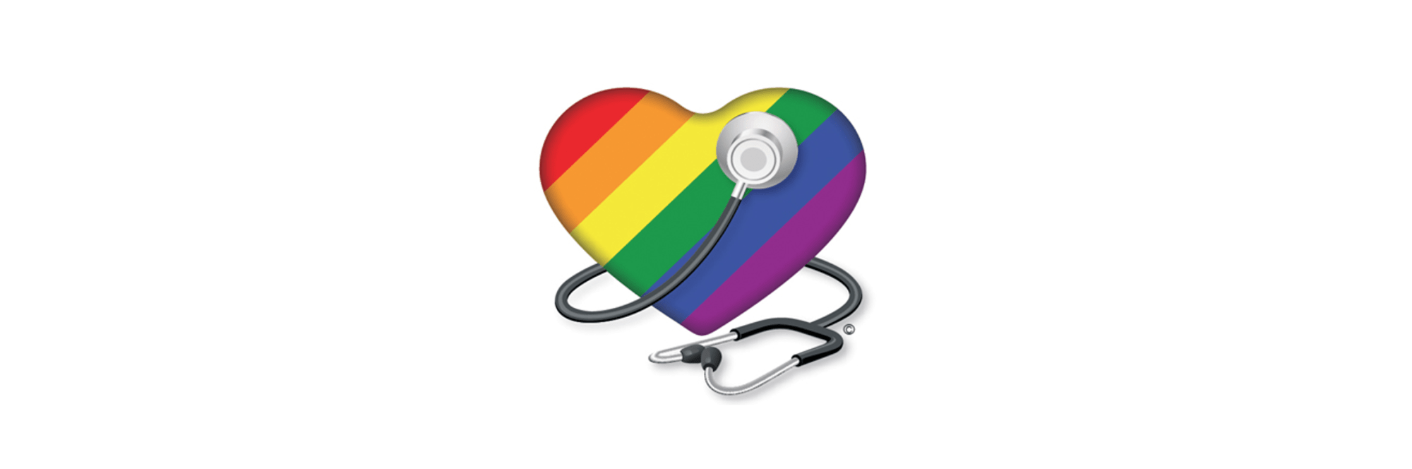 graphic of a rainbow-colored heart with a stethoscope wrapped around it